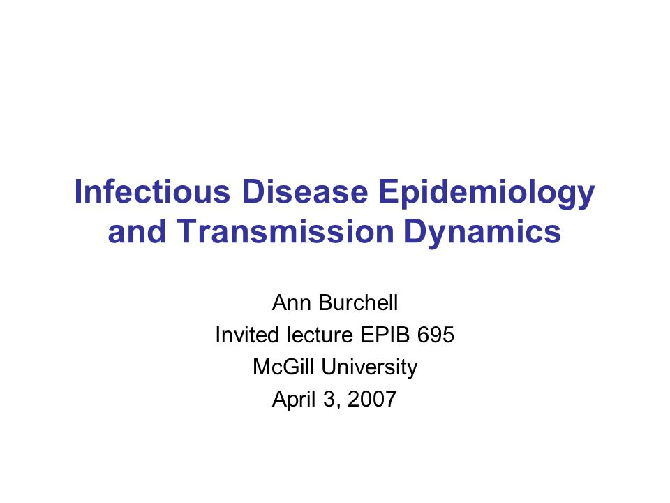 Infectious Disease Epidemiology and Transmission Dynamics