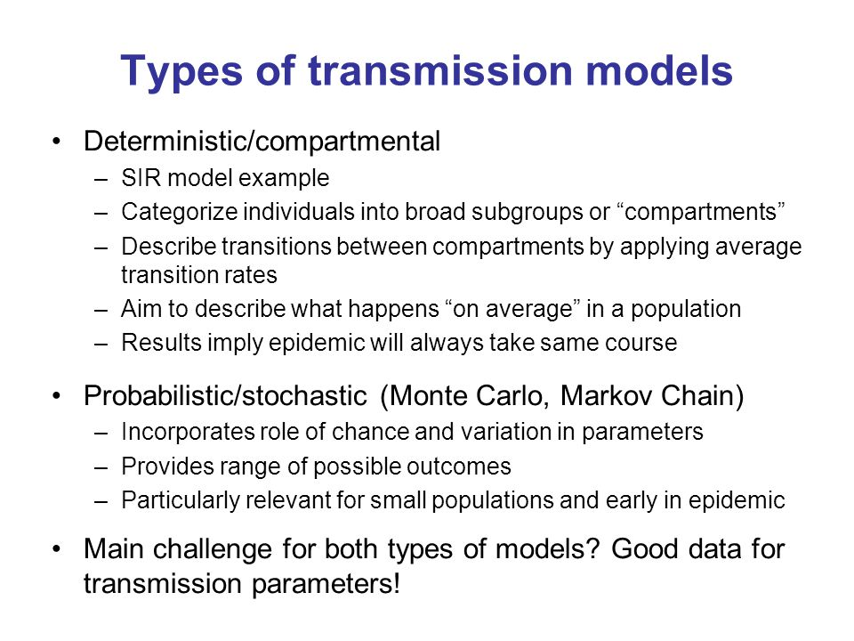 Types of transmission models