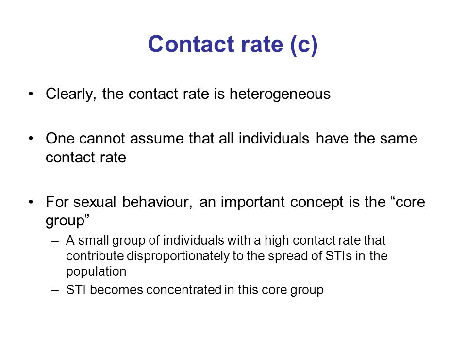 Contact rate (c) Clearly, the contact rate is heterogeneous