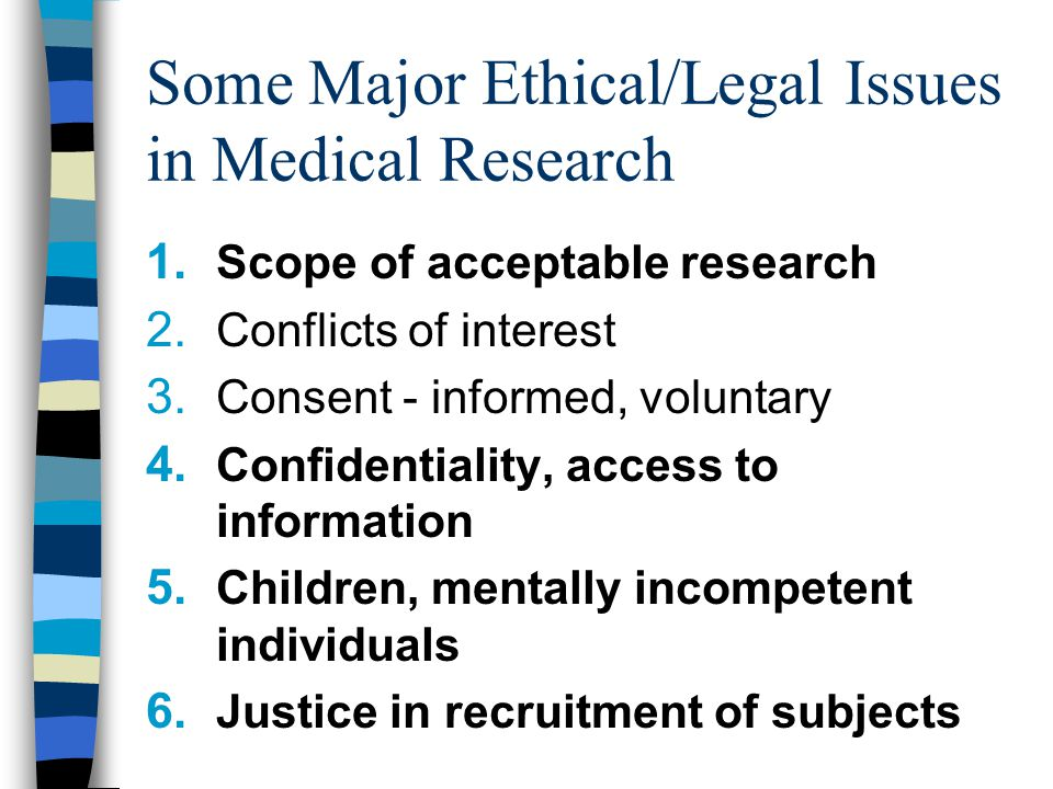Some Major Ethical/Legal Issues in Medical Research