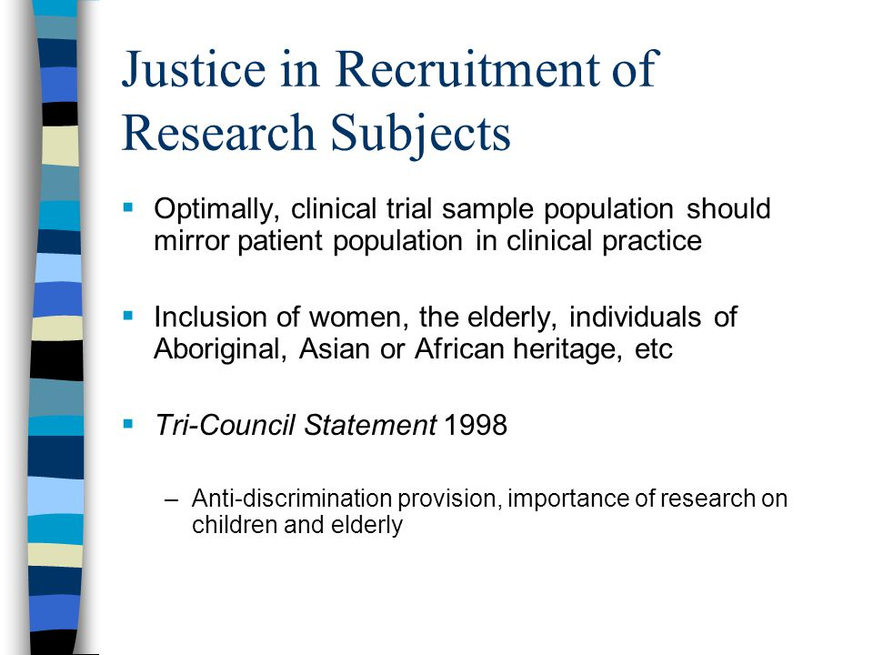Justice in Recruitment of Research Subjects