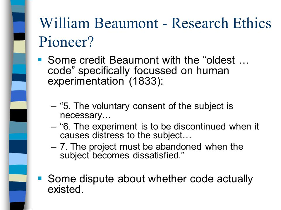William Beaumont - Research Ethics Pioneer