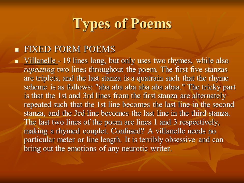 Types of Poems FIXED FORM POEMS