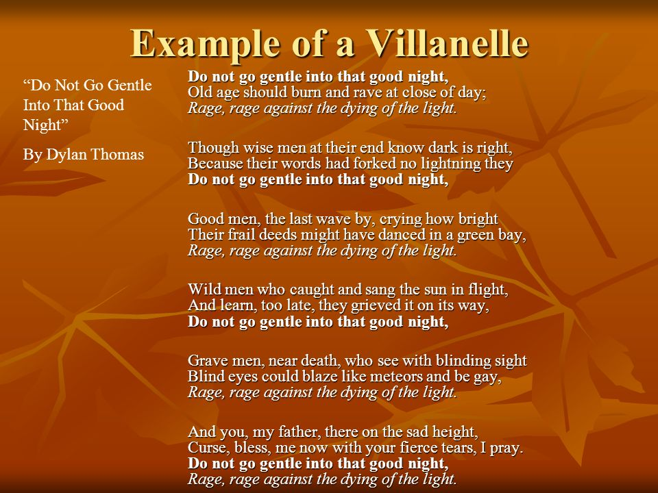 Example of a Villanelle
