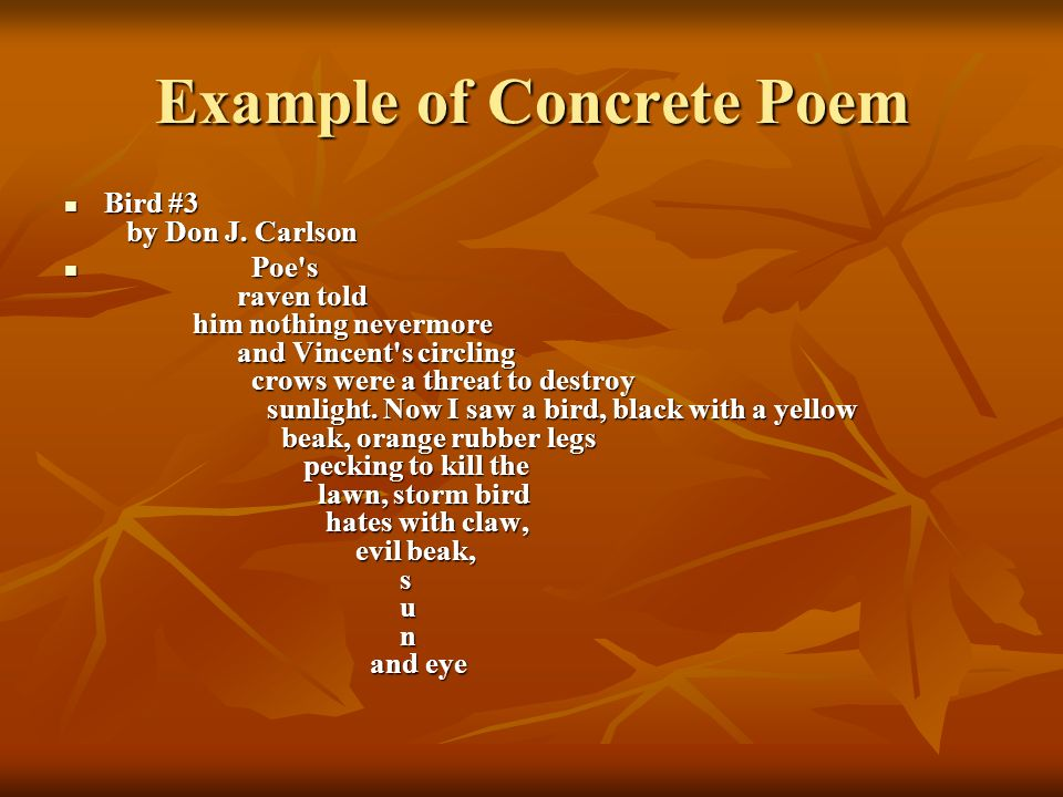 Example of Concrete Poem