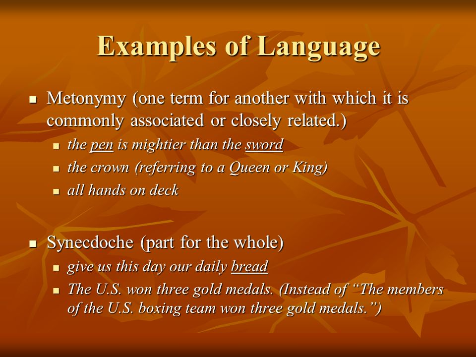 Examples of Language Metonymy (one term for another with which it is commonly associated or closely related.)