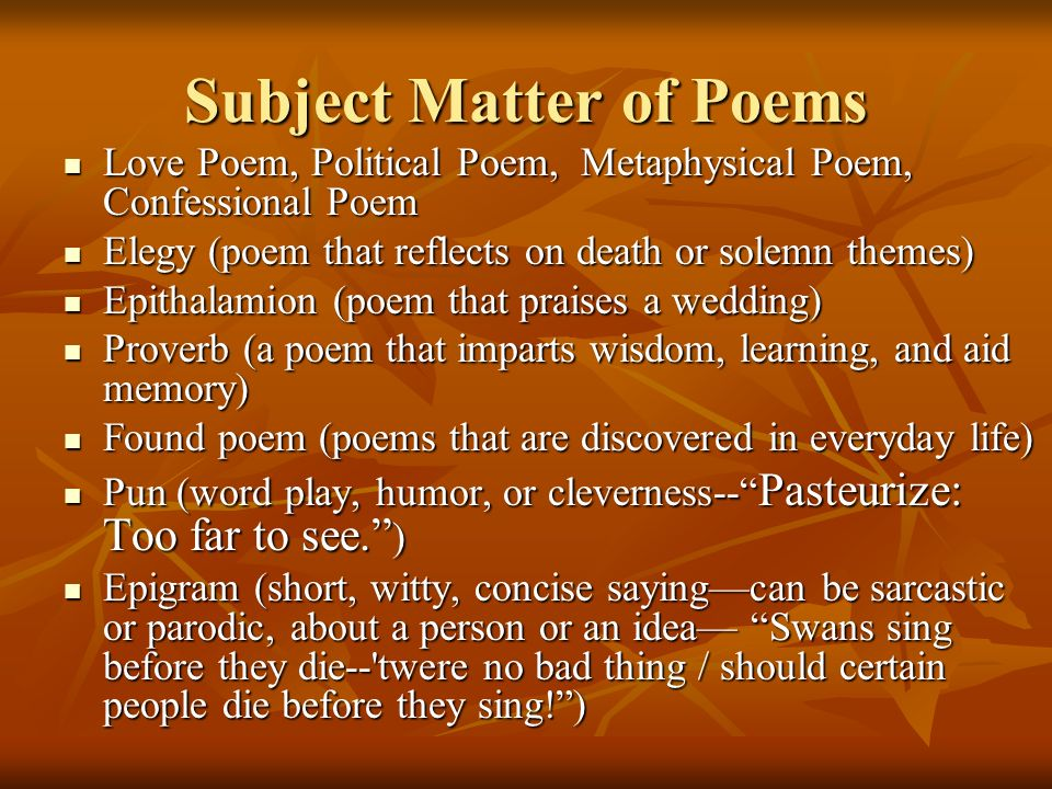 Subject Matter of Poems