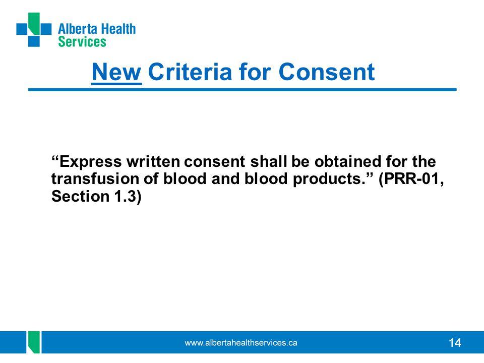 New Criteria for Consent