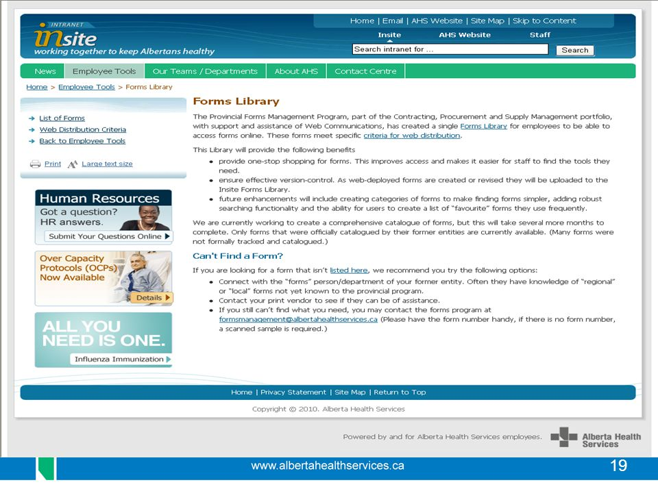 Here is a screen shot of the Forms Library on Insite.