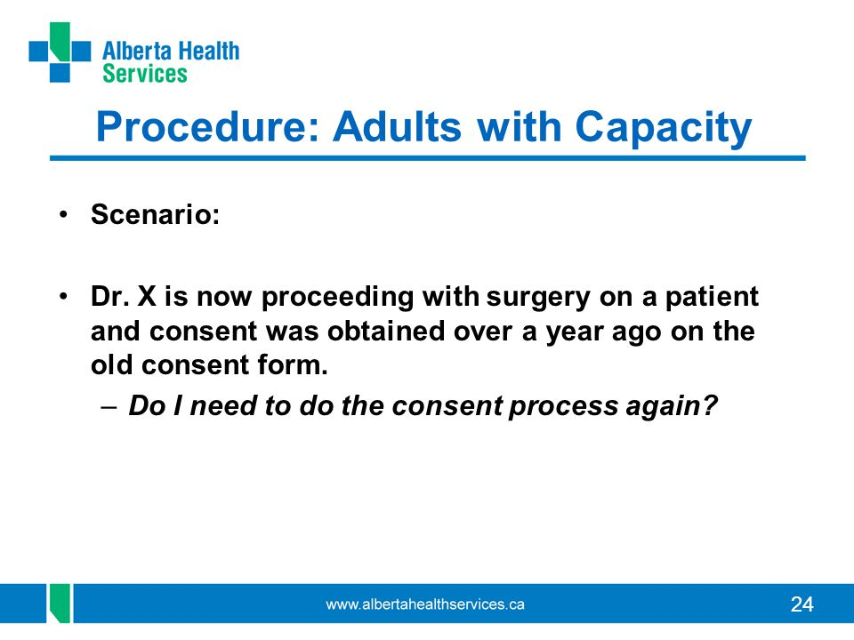 Procedure: Adults with Capacity