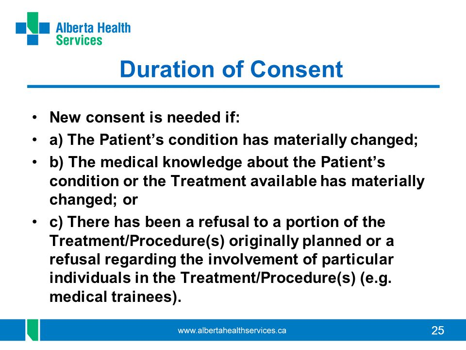 Duration of Consent New consent is needed if: