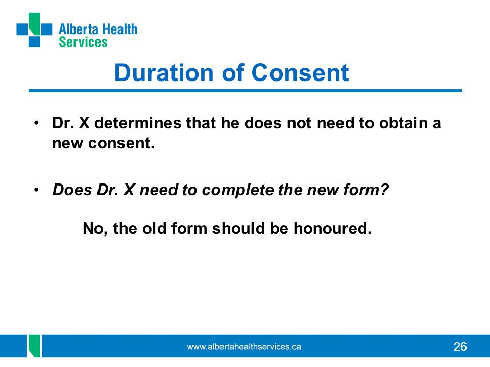 Duration of Consent Dr. X determines that he does not need to obtain a new consent.