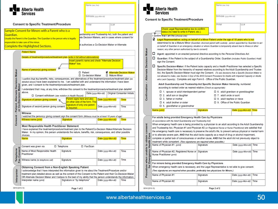 This highlighted version of the consent form is available on the website as an example of how to complete the form for a minor with a parent providing consent in person. The first page is fairly intuitive but a portion of the second page needs to be completed as well.