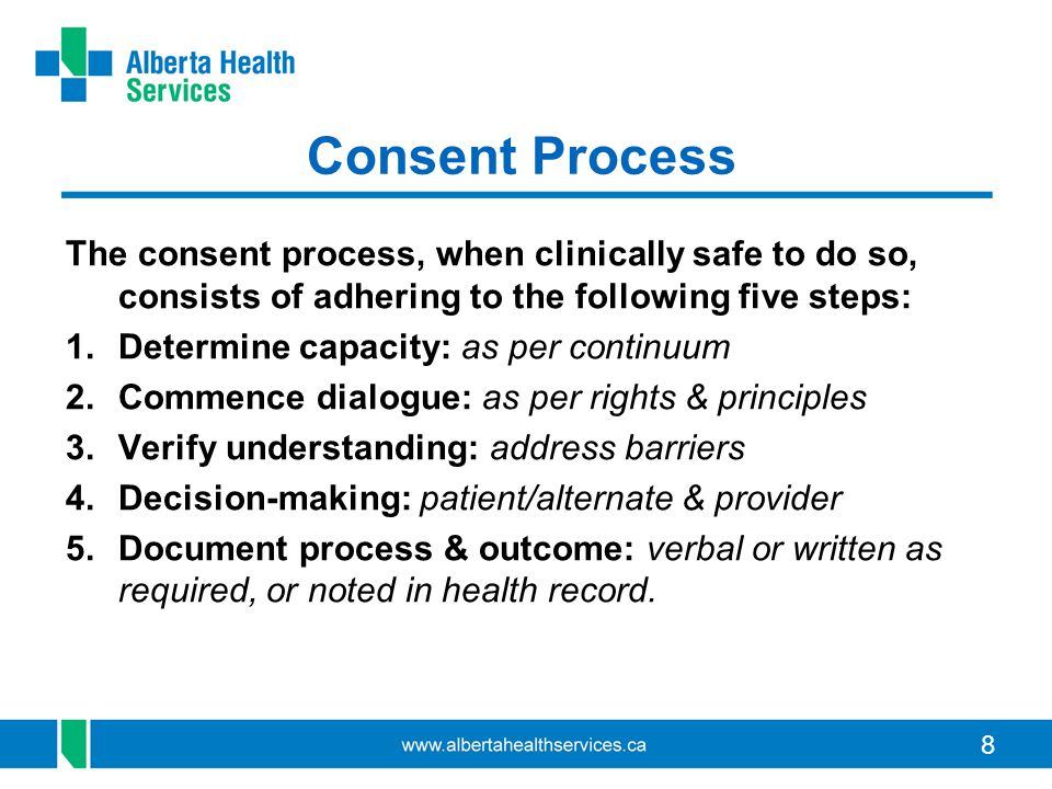 Consent Process The consent process, when clinically safe to do so, consists of adhering to the following five steps:
