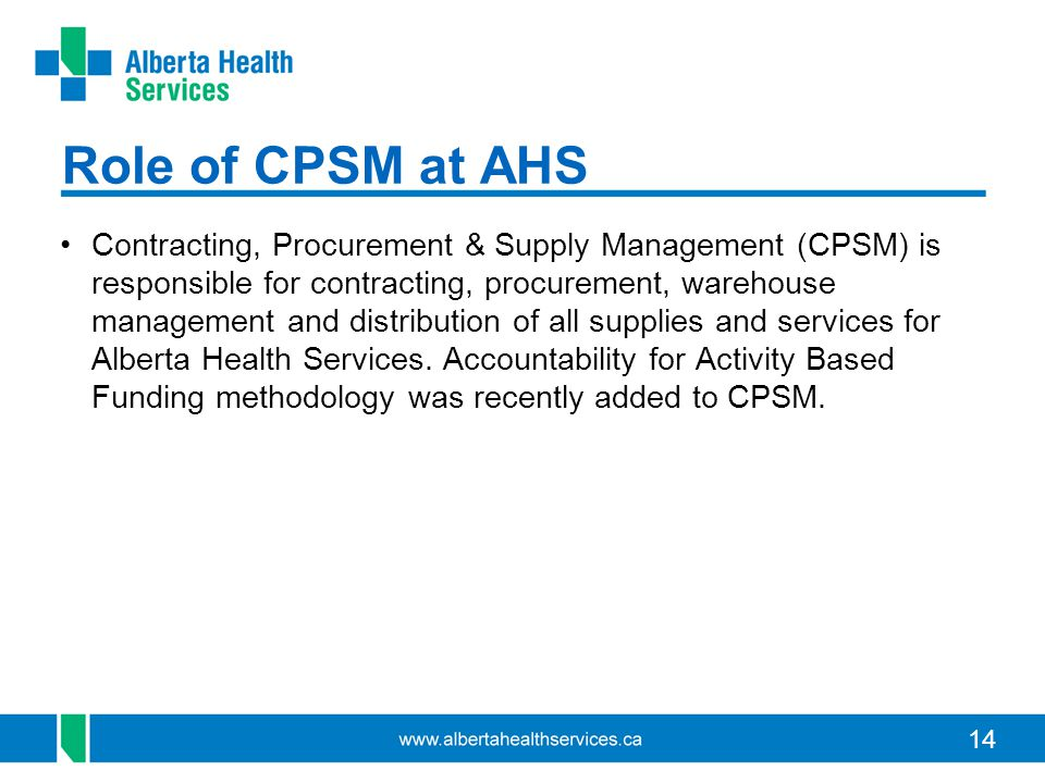 Role of CPSM at AHS