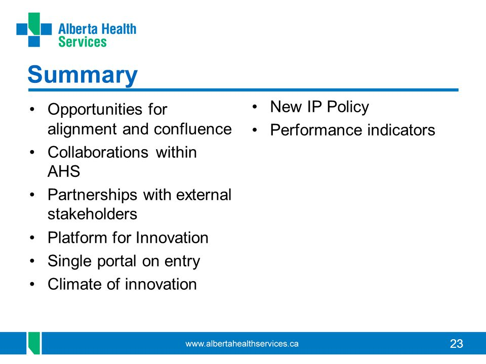 Summary New IP Policy Performance indicators