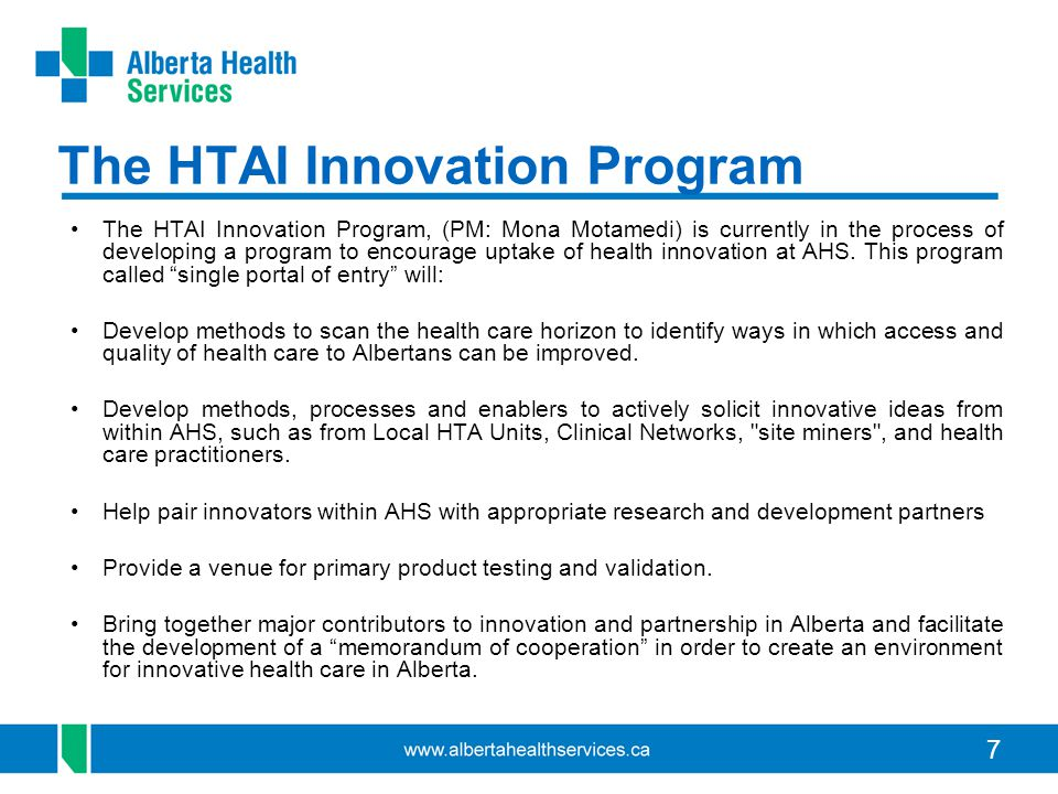 The HTAI Innovation Program