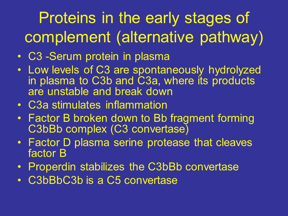 Proteins in the early stages of complement (alternative pathway)