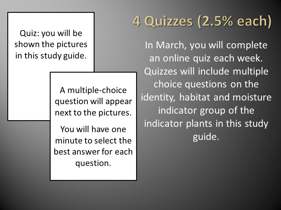 4 Quizzes (2.5% each) Quiz: you will be shown the pictures in this study guide.