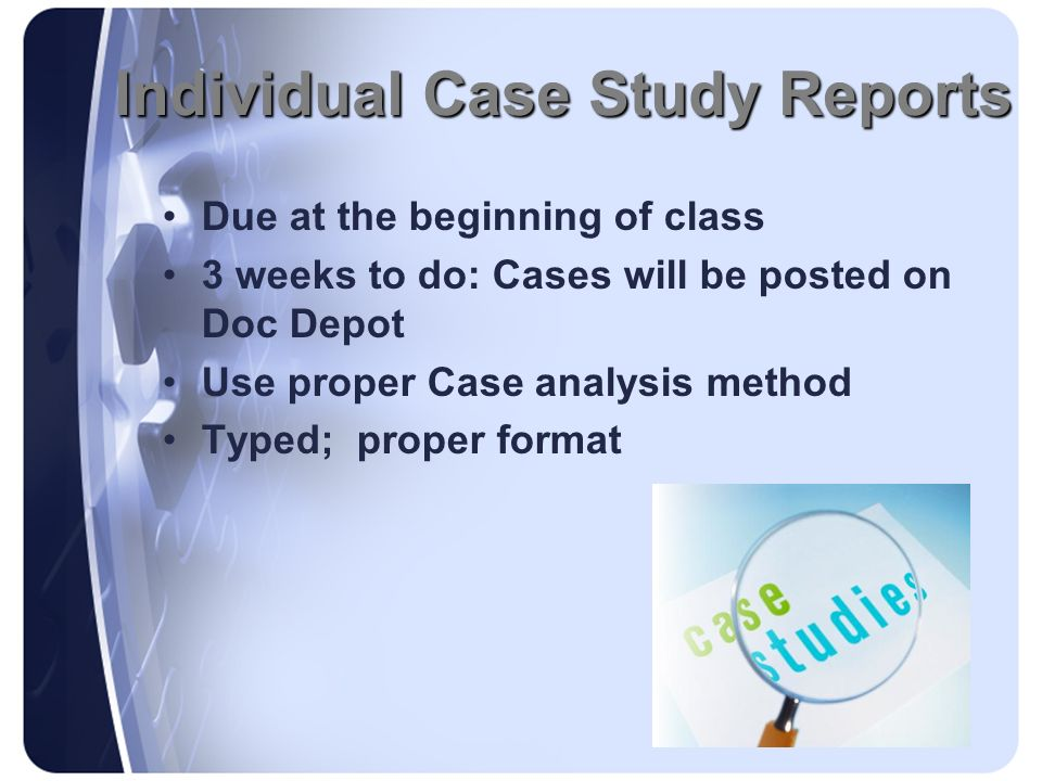 Individual Case Study Reports