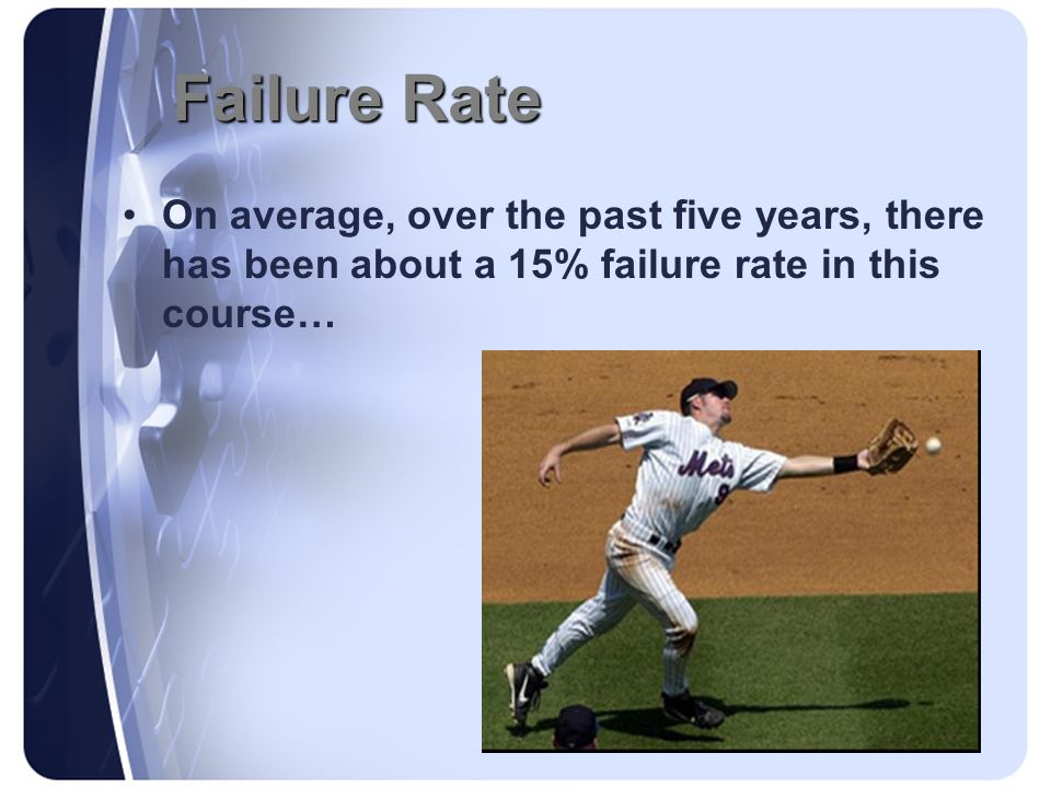 Failure Rate On average, over the past five years, there has been about a 15% failure rate in this course…