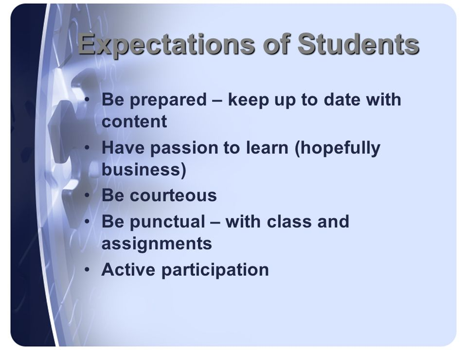 Expectations of Students