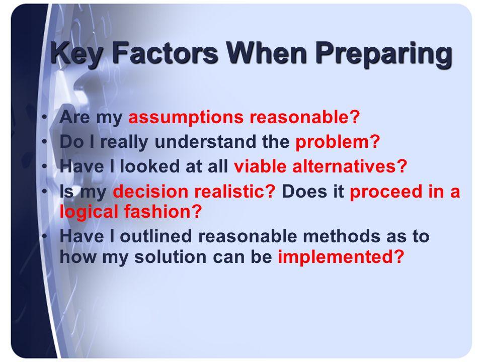 Key Factors When Preparing