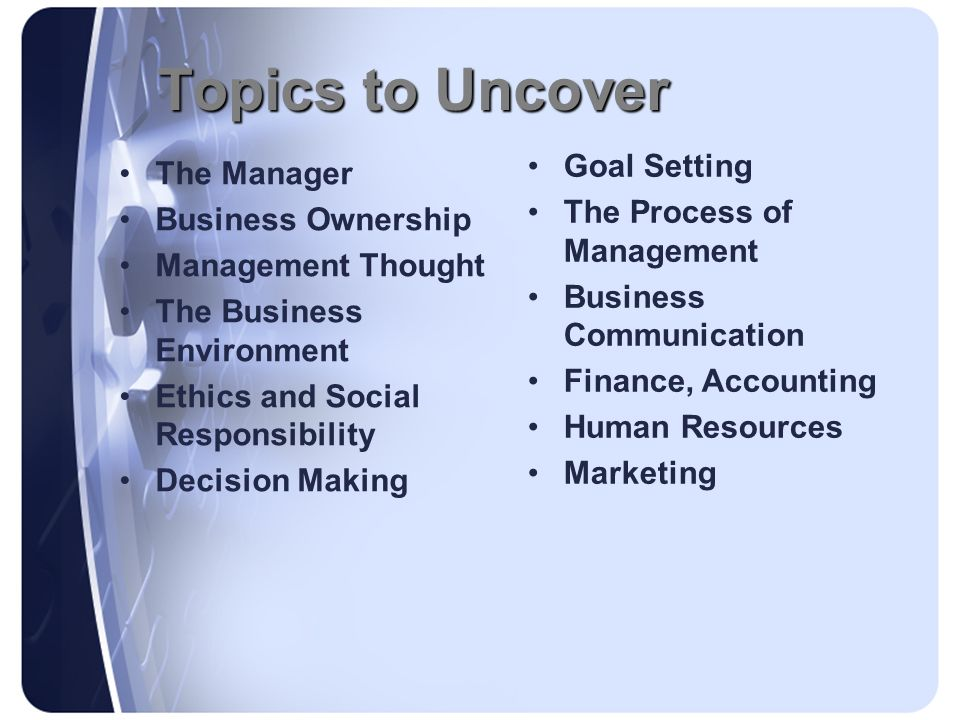 Topics to Uncover Goal Setting The Manager The Process of Management