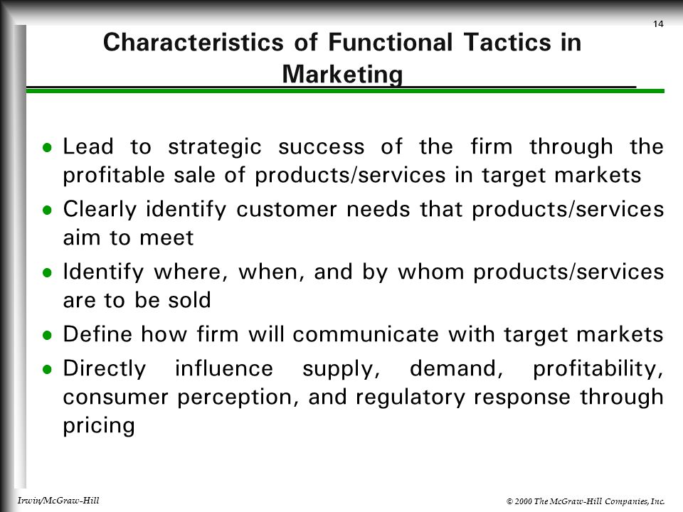 Characteristics of Functional Tactics in Marketing