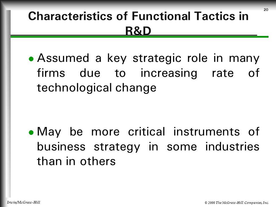 Characteristics of Functional Tactics in R&D