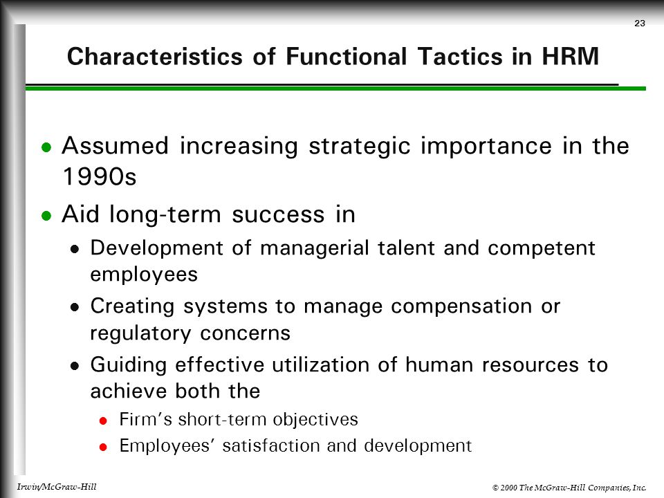 Characteristics of Functional Tactics in HRM