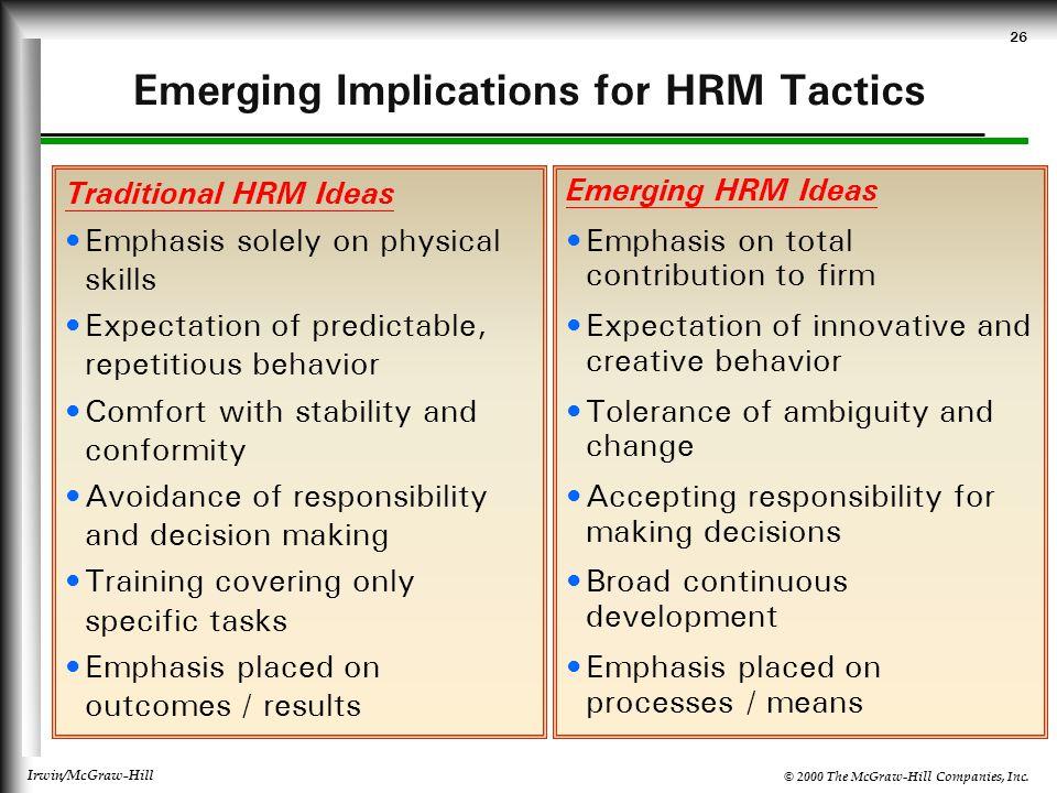 Emerging Implications for HRM Tactics