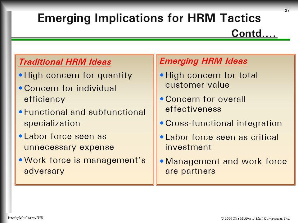Emerging Implications for HRM Tactics Contd….