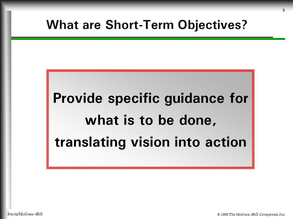 What are Short-Term Objectives