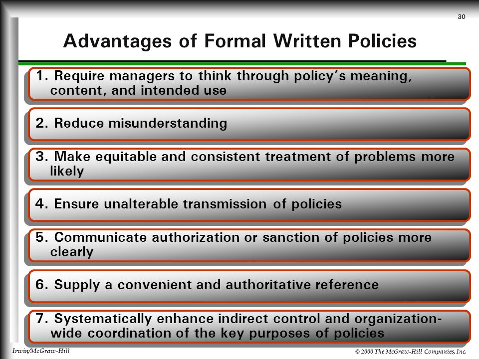 Advantages of Formal Written Policies