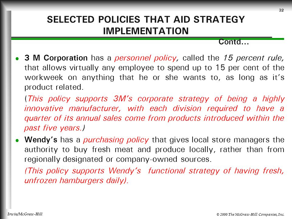 SELECTED POLICIES THAT AID STRATEGY IMPLEMENTATION Contd...