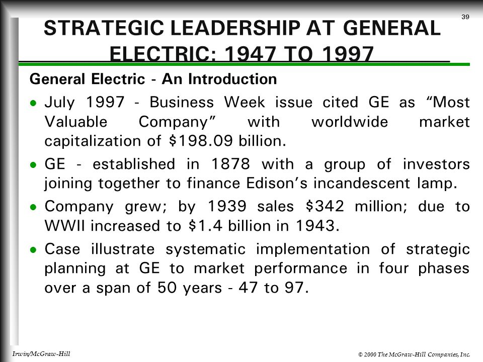 STRATEGIC LEADERSHIP AT GENERAL ELECTRIC: 1947 TO 1997