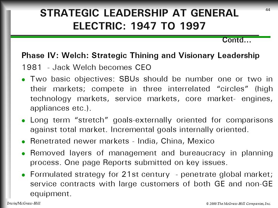 STRATEGIC LEADERSHIP AT GENERAL ELECTRIC: 1947 TO 1997 Contd...