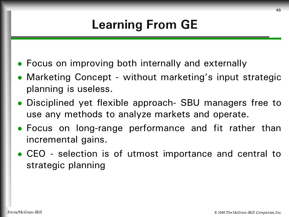 Learning From GE Focus on improving both internally and externally
