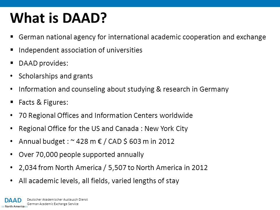 What is DAAD German national agency for international academic cooperation and exchange. Independent association of universities.