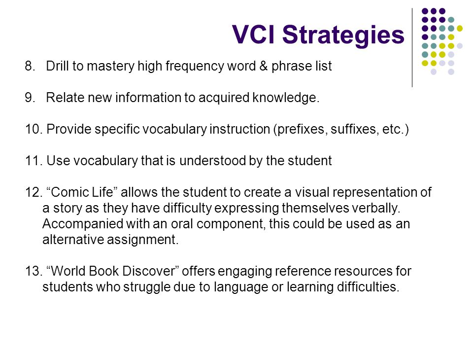 VCI Strategies Drill to mastery high frequency word & phrase list