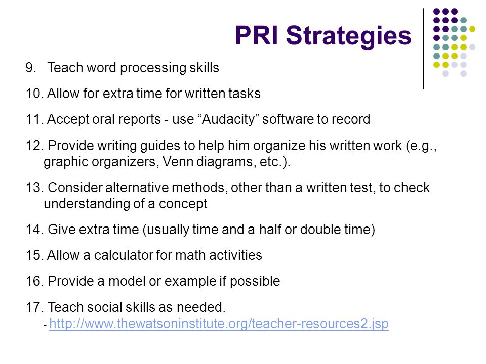 PRI Strategies Teach word processing skills