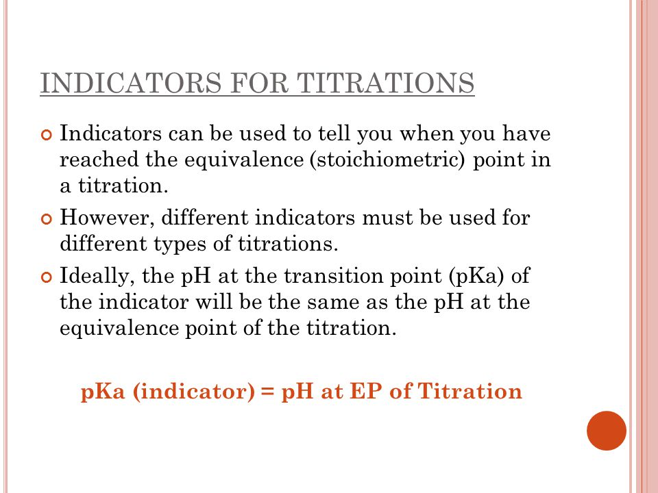 INDICATORS FOR TITRATIONS