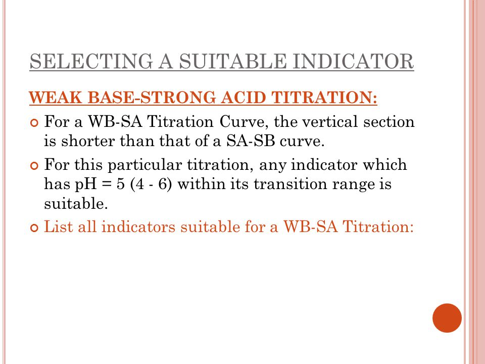 SELECTING A SUITABLE INDICATOR