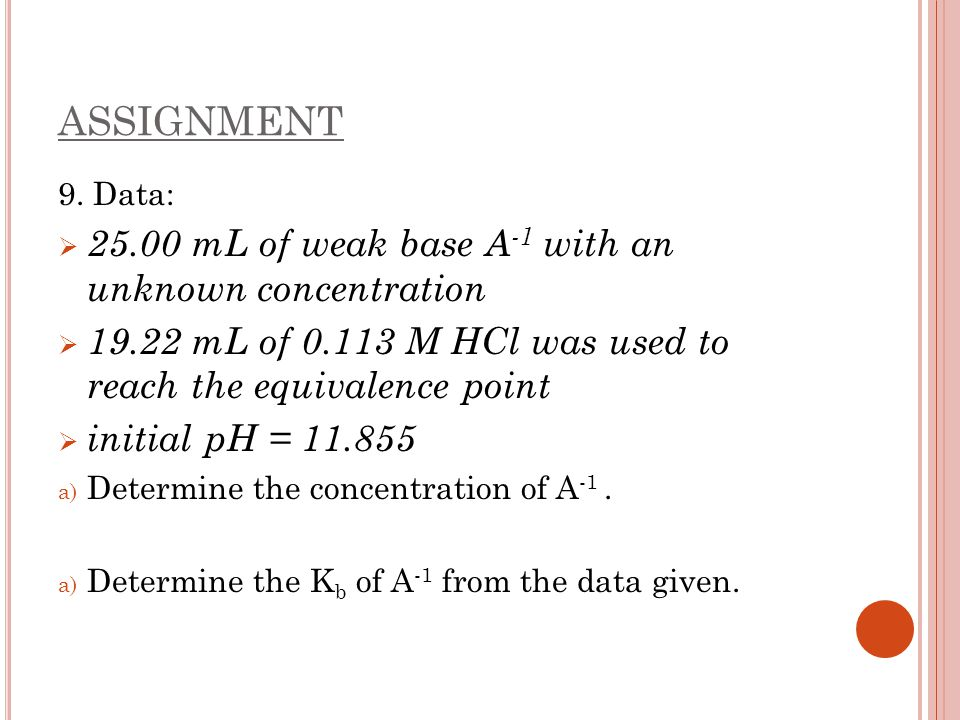 ASSIGNMENT 25.00 mL of weak base A-1 with an unknown concentration