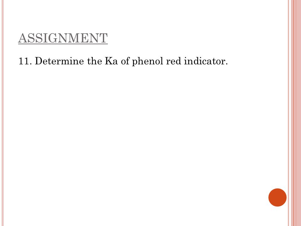 ASSIGNMENT 11. Determine the Ka of phenol red indicator.