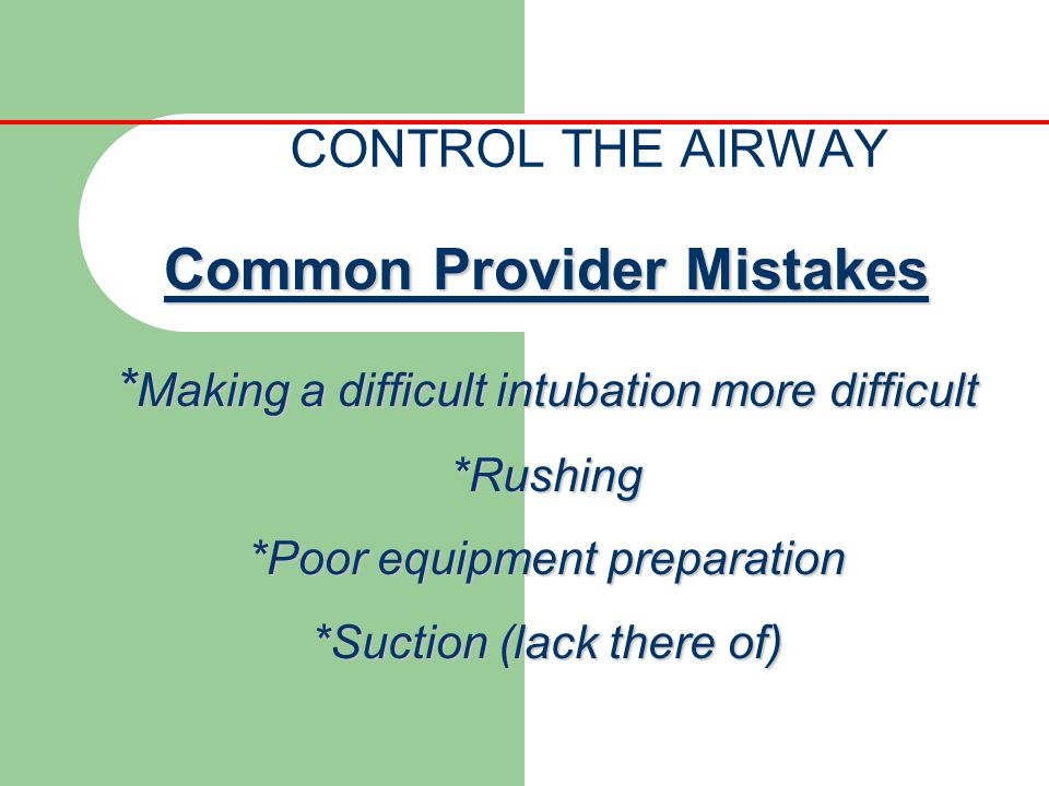 Common Provider Mistakes