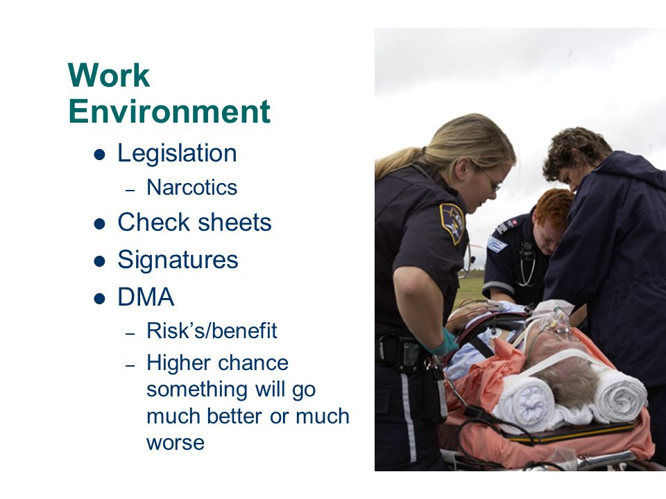 Work Environment Legislation Check sheets Signatures DMA Narcotics