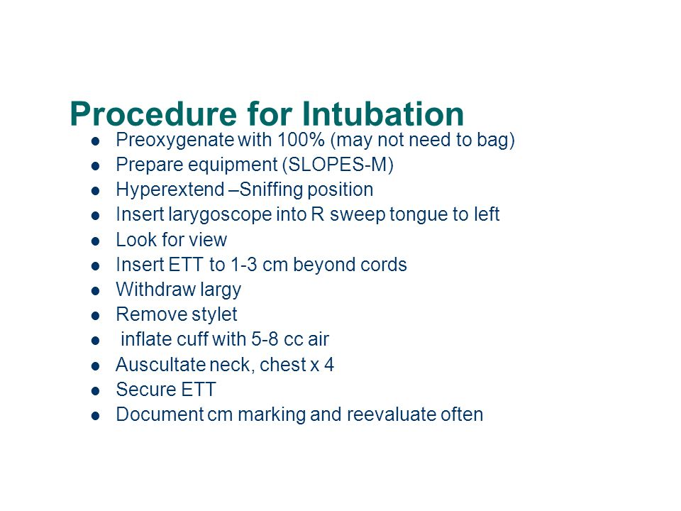 Procedure for Intubation