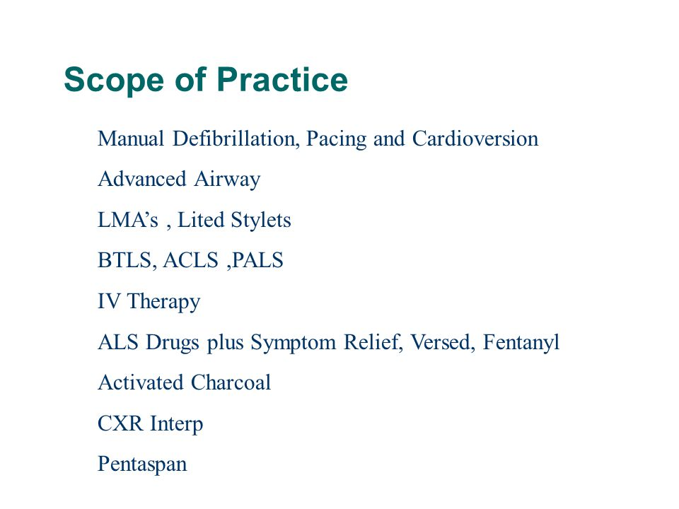 Scope of Practice Manual Defibrillation, Pacing and Cardioversion